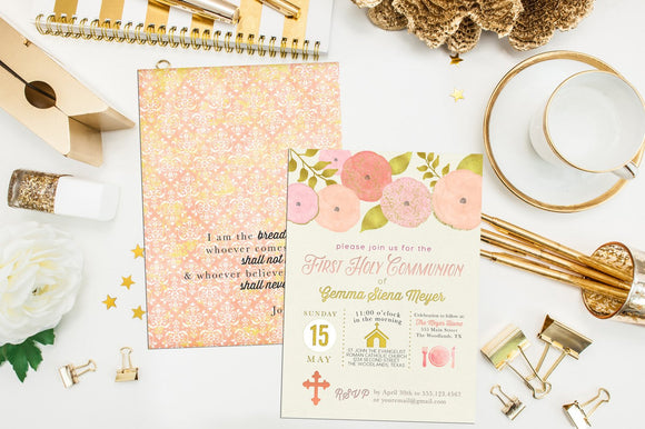Gold Peach Floral First Communion Invitation. Floral Baptism Invite. Custom Icon First Holy Communion. Icon Invite. Girl Communion Invite