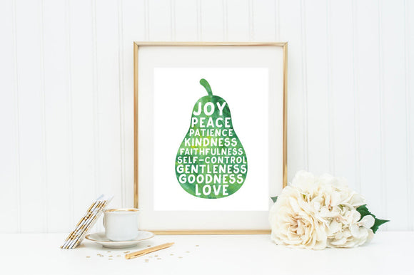 Fruits of the Spirit Watercolor Wall Art. Printed Fruits of the Spirit Art. Galatians 5:22. Scripture wall art. Home decor. Christian Art.