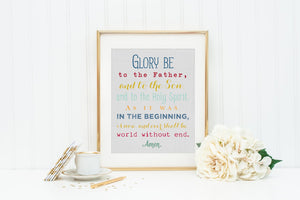 Glory Be to the Father Prayer Print. Glory Be Wall Art Print. Christian Wall Art Prints. Kids Prayer Print. Baptism Gift. First Communion