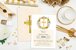 Floral Baptism & First Communion Invitation. Floral Baptism Invite. Peach Yellow Christening. Cross Invite. Communion. Baptism Invite.