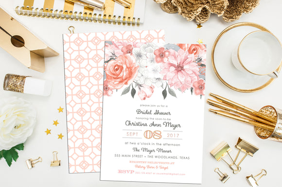 Peach, Pink & Gray Floral Shower Invite. Floral First Communion Invitation. Floral Baptism Invite. Girl Communion Invite. Floral Baby Shower