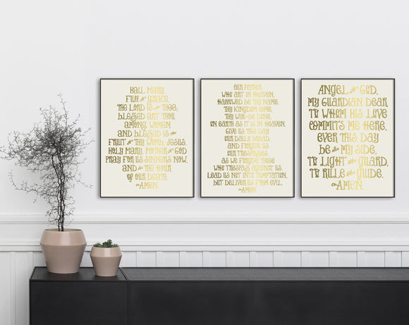 Gold Prayer Prints. Set of 3 Prayer Prints. Our Father, Hail Mary & Angel of God Art Prints. Christian Wall Art Prints. Farmhouse Prayers