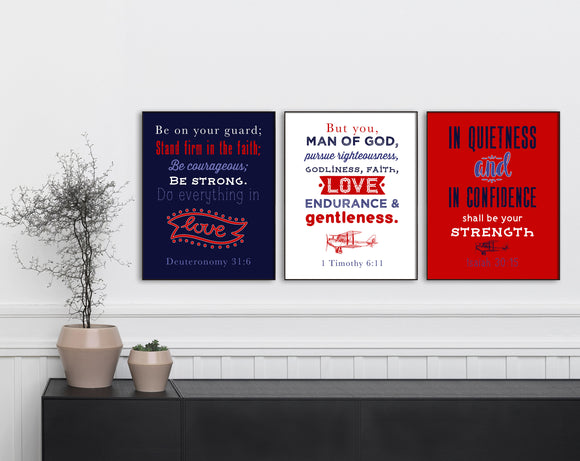 Boys Room Scripture Prints. Christian Wall Art Print. Airplane Kids Prayer Print. Farmhouse Prints. Nautical Art. Set of 3 Scripture Prints.