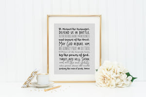 graphic about St. Michael the Archangel Prayer Printable referred to as St. Michael Prayer Print. Christian Wall Artwork. Innovative Prayer Prayer. Printable Saint Michael the Archangel. Baptism. Communion