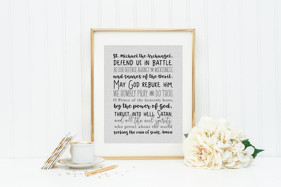 St. Michael Prayer Print. Christian Wall Art. Modern Prayer Prayer. Printable Saint Michael the Archangel. Baptism. Communion