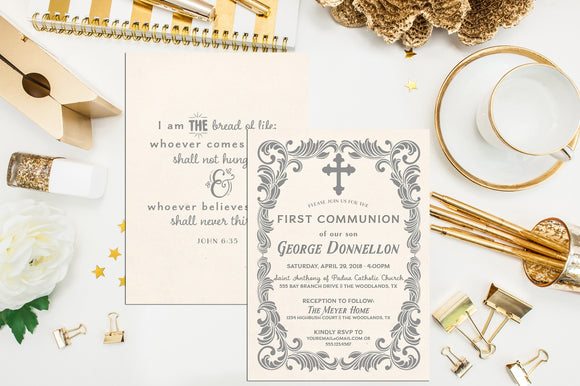 Neutral First Communion Invitation. Flourish Frame Baptism Invite. First Holy Communion. Christening. Boy Communion. Girl Communion Invite.
