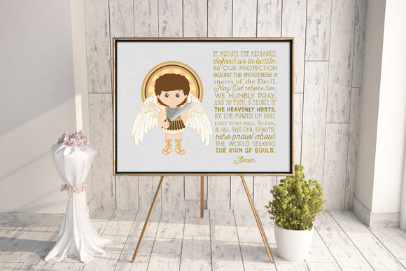 St. Michael the Archangel poster print. Saint Michael Wall Art Poster. Nursery Art. Kids Room Print. Prayer Print Poster. Catholic Poster.