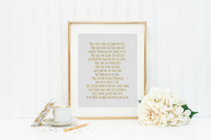 May today there be peace within prayer by St. Therese. St. Therese of Lisieux Prayer Print. Christian Wall Art Print. Metallic Prayer