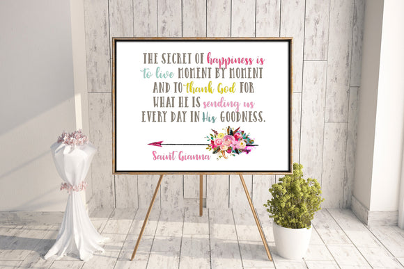 Saint Gianna poster print. St. Gianna Wall Art Poster Gift. First Communion. Kids Room Print. Prayer Poster. Catholic Poster. Baptism Gift.