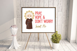 Saint Pio poster print. St. Pio Wall Art Poster. First Communion. Kids Room Print. Prayer Poster. Catholic Poster. Baptism Gift. Padre Pio