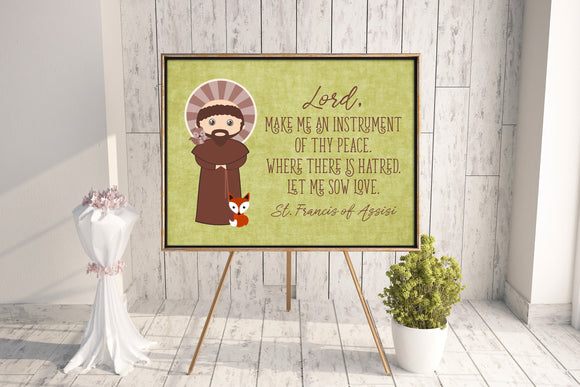 Saint Francis of Assisi poster print. St. Francis Wall Art Poster. First Communion. Kids Room. Prayer Poster. Catholic Poster. Baptism Gift.