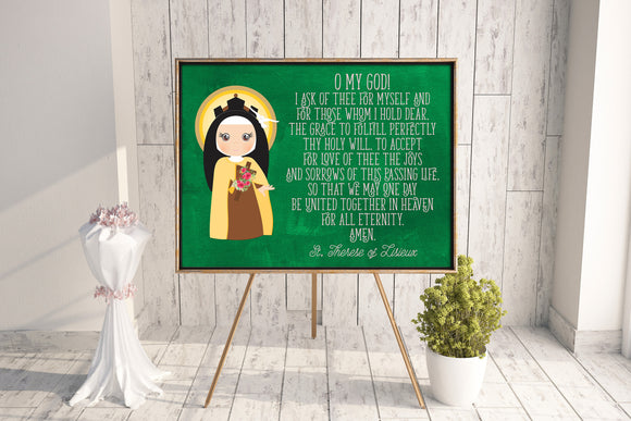 Saint Therese of Lisieux poster print. St. Therese Wall Art Poster. First Communion. Kids Room. Prayer Poster. Catholic Poster. Baptism Gift