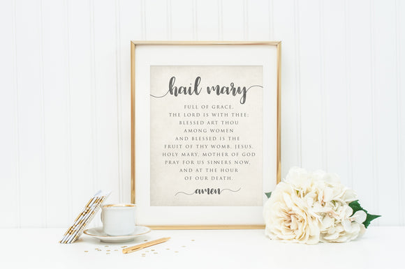 Printable Hail Mary Print. 11x14 Hail Mary Print. Watercolor Prayer Print. Prayer Print. Hail Mary Wall Art. Baptism Gift. Holy Communion