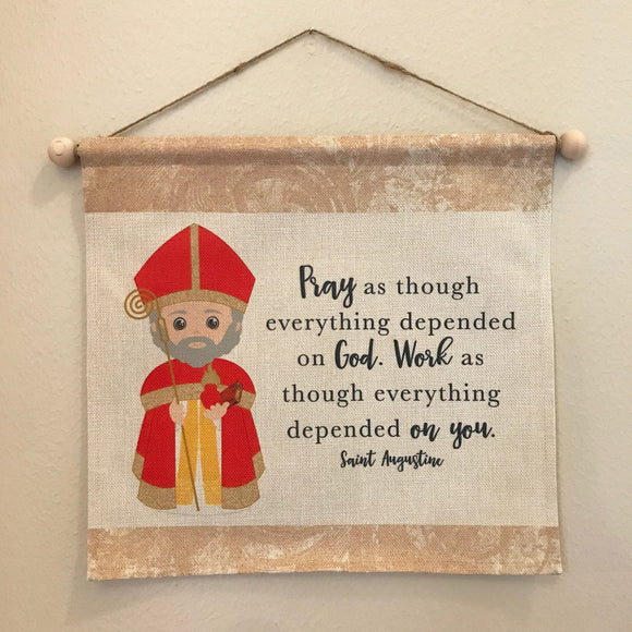 St. Augustine Wall Hanging. St Augustine Kids Wall Art. Saint Wall Hanging. Kids Room Art. St Augustine gift. Catholic Art. Tapestry