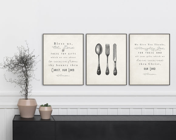 Set of 1, 2 or 3 Kitchen Prayer Prints. Bless Us Oh Lord. kitchen utensil. We Give You Thanks. Farmhouse Decor. Printed Kitchen Art. Kitchen