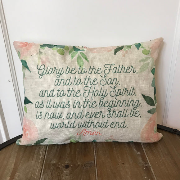 Glory Be pillow. Baptism Gift. Children's pillow. Nursery Decor Christian Catholic Gift. First Communion Gift. Glory Be to the father pillow