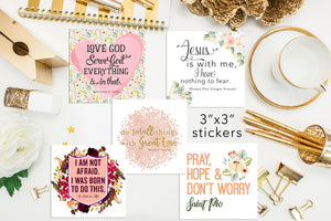 "Set of 18 - 3"" Saint Stickers. Inspirational Saint Stickers. Planner Stickers. Homeschooling. Catholic Gift. Catholic Saint Stickers."