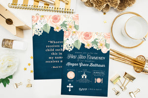 Peach and Navy Floral First Communion Invitation. Floral Baptism Invite. Icon First Holy Communion. Elegant Communion. Girl Communion Invite