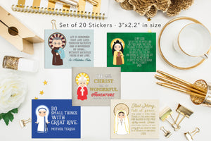 Set of 20 Saint Stickers. Kids Saint Stickers. First Communion Gift. Homeschooling. Catholic Gift. Catholic Saint Stickers. Prayer Stickers.