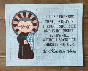 Saint Maximilian children's puzzle. St. Maximilian Kolbe Prayer Puzzle. Children's Stocking Stuffer. Catholic Gift. First Communion. Baptism