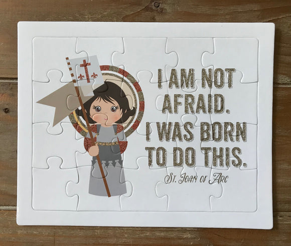 Saint Joan of Arc children's puzzle. Joan of Arc Prayer Puzzle. Children's Stocking Stuffer. Saint Gift. Catholic. First Communion. Baptism.