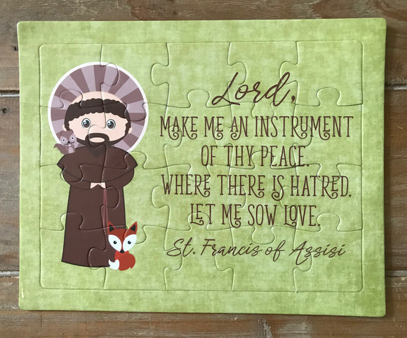 Saint Francis children's puzzle. St. Francis Prayer Puzzle. Children's Stocking Stuffer. Saint Gift. Catholic Gift. First Communion. Baptism