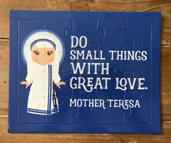 Mother Teresa children's puzzle. Do small things Prayer Puzzle. Children's Stocking Stuffer. Saint Gift. Catholic. First Communion. Baptism.