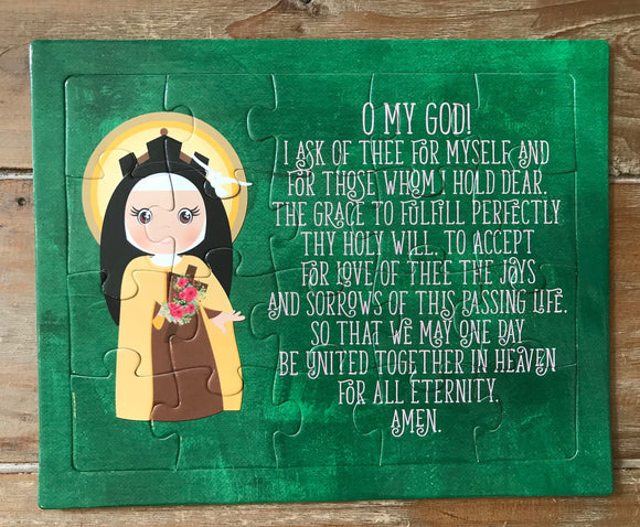 St. Therese children's puzzle. St. Therese Prayer Puzzle. Children's Stocking Stuffer. Saint Gift. Catholic Gift. First Communion. Baptism.