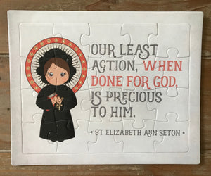 St. Elizabeth Ann Seton children's puzzle. Prayer Puzzle. Children's Stocking Stuffer. Saint Gift. Catholic Gift. First Communion. Baptism.