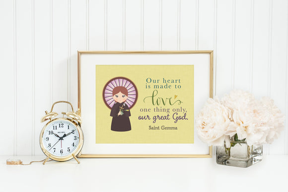 Saint Gemma poster print. Saint Gemma Wall Art Poster. First Communion. Saint Gemma Prayer Print. Catholic Prayer Poster. Kids Saints
