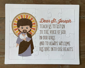 Saint Joseph children's puzzle. Saint Joseph Prayer Puzzle. Children's Stocking Stuffer. Saint Gift. Catholic Gift. First Communion. Baptism