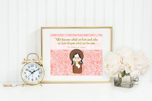 Saint Clare of Assisi poster print. St. Clare Wall Art Poster. First Communion. Kids Room. Prayer Poster. Catholic Poster. Baptism Gift