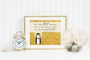 Saint Catherine of Siena poster print. St Catherine Wall Art Poster. First Communion. Kids Room Prayer Poster. Catholic Poster. Baptism Gift