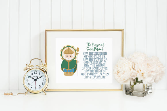 Saint Patrick poster print. St. Patrick Wall Art Poster. First Communion. Kids Room Print. Prayer Poster. Catholic Poster. Baptism Gift.