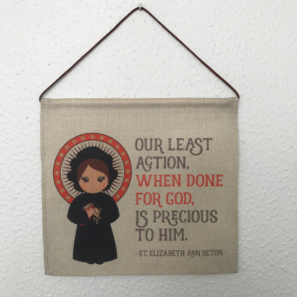 Saint Elizabeth Ann Seton Wall Hanging. Mini St Elizabeth Kids Wall Art. Saint Wall Hanging. Kids Room Art. St Elizabeth gift. Catholic Art.