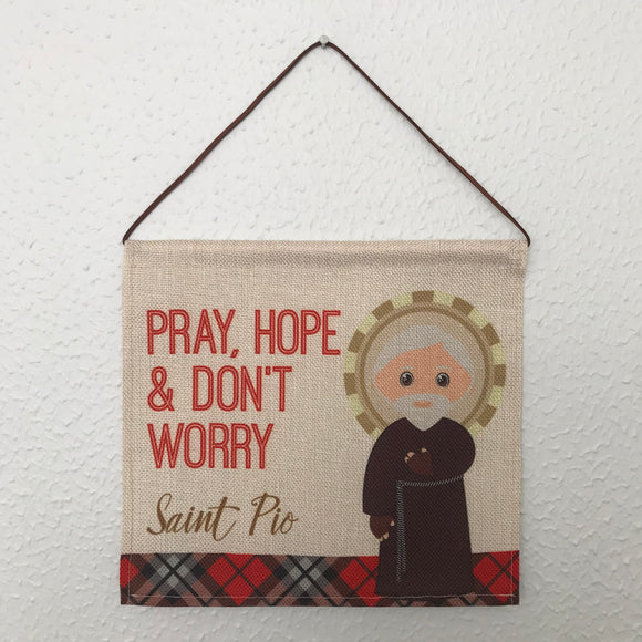 Saint Padre Pio Wall Hanging. Mini St Padre Pio Kids Wall Art. Saint Wall Hanging. Kids Room Art. St Padre Pio gift. Catholic Art
