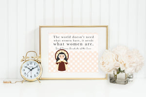 Saint Teresa Benedicta of the Cross print. St. Teresa Wall Art Poster Gift. The world doesn't need what women have Poster. Catholic Poster.