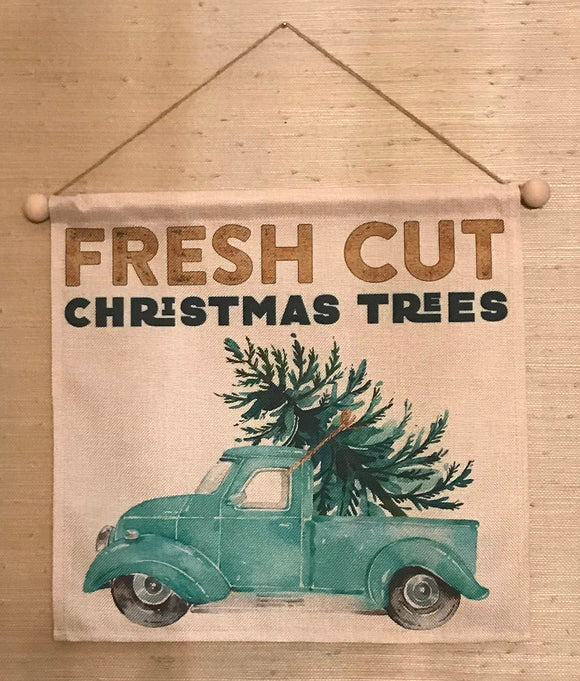 Fresh Cut Trees Wall Hanging. Truck with Tree Holiday Wall Art. Watercolor Truck with Tree Wall Hanging. Fresh Cut Tree Tapestry. Christmas.