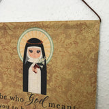 Saint Catherine of Siena Wall Hanging. Mini St Catherine Kids Wall Art. Saint Wall Hanging. Kids Room Art. St Catherine gift. Catholic Art.