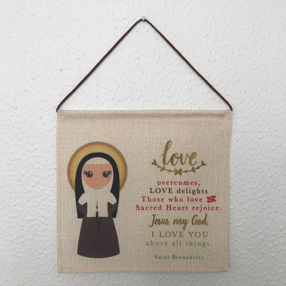 Saint Bernadette Wall Hanging. Mini St Bernadette Kids Wall Art. Saint Wall Hanging. Kids Room Art. Saint Bernadette gift. Catholic Art.