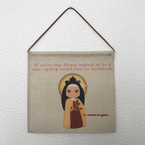 Saint Therese of Lisieux Wall Hanging. Mini St Therese Kids Wall Art. Saint Wall Hanging. Kids Room Art. Saint Therese gift. Catholic Art.