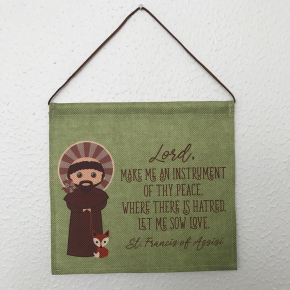 Saint Francis of Assisi Wall Hanging. Mini St Francis Kids Wall Art. Saint Wall Hanging. Kids Room Art. St Francis gift. Catholic Art.
