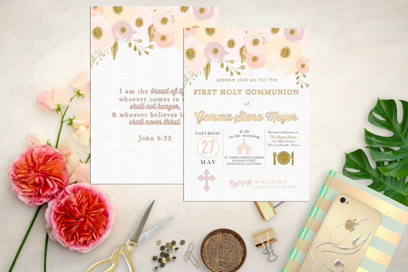 Pink, Lilac and Gold Floral First Communion Invitation. Floral Baptism Invite. Custom Icon First Holy Communion. Watercolor. Girl Communion