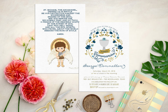 Boy First Communion Invitation. Chalice First Communion Invite. Saint Michael Invitation. Cross Invite. Communion. Custom Communion Invite.