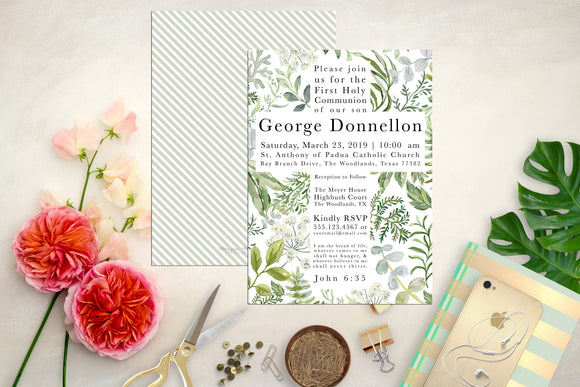 Leafy Green Cross First Communion or baptism Invitation. First Communion Invite. Cross Invite. Communion. Custom Communion Invite.