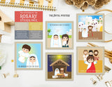 "Set of 20 - 3"" Mysteries of the Rosary Stickers Set. First Communion. Homeschooling. Catholic. Catholic Rosary Stickers. Easter Gift."