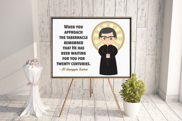 St. Josemaria Escriva poster print. St. Josemaria Escriva Wall Art Poster. First Communion. Kids Room. Prayer Poster. Catholic Poster.