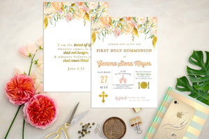 Peach, Pink and Gold Floral First Communion Invitation. Floral Baptism Invite. Custom Icon First Holy Communion. Watercolor. Girl Communion