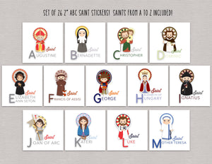 Set of 26 A to Z Saint Stickers. Saint Alphabet Sticker Set. First Communion. Baptism Gift. Catholic Gift. Saint ABC gift. Godchild. Easter.