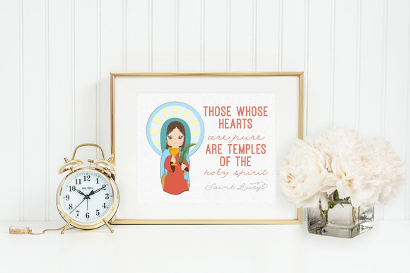 Saint Lucy prayer print. Saint Lucy Wall Art Poster. Nursery Prayer Print. Catholic Poster. Baptism Gift. Those whose hearts are pure.